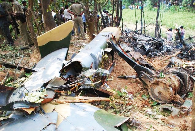 The wreckage of the Dhruv helicopter