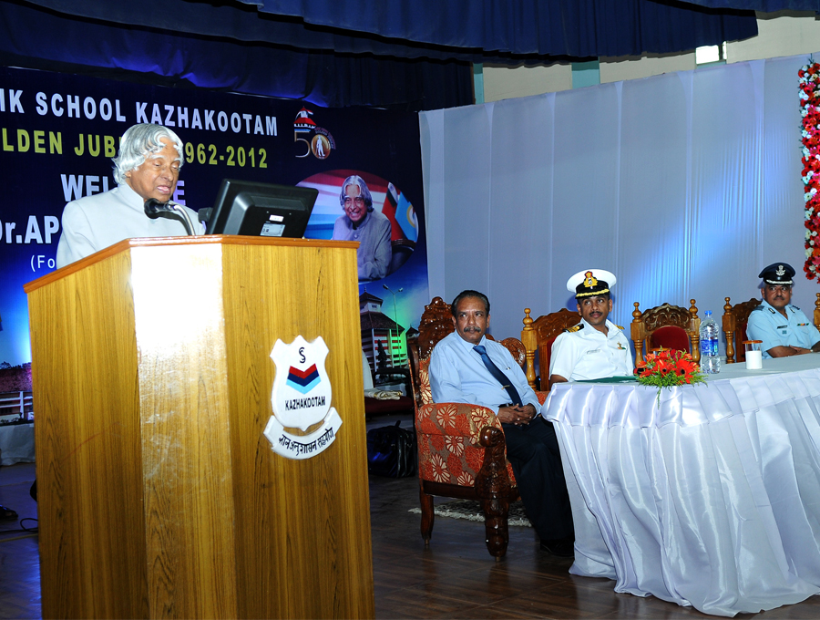 APJ  Abdul Kalam addresses the Cadets at Sainik School, Kazhakootam